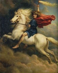 Dagr was, in Norse mythology, the god of the daytime, a son of Delling (god of twilight) and N�tt. Dagr, the Bright and the Fair, drove across the sky in a chariot every day, pulled by a horse named Skinfaxi. Skinfaxi's mane lights up the earth and sky. N�tt's equivalent horse, Hrimfaxi, lights up the night.