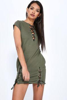 Short sleeve v neck mini dress with eyelet detailV neckShort sleeveMini lengthLace up Cotton, Lycra Casual Day Dresses, Dresses Uk, Shopping Day, Trendy Outfits, Trendy Clothing, Staple Pieces, Fashion Beauty, Shirt Dress, Mini