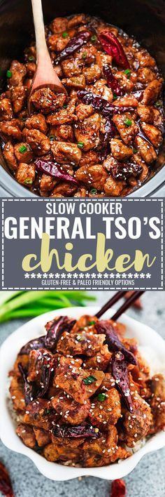 A delicious Skinny Slow Cooker General Tso\'s Chicken coated in a sweet, savory and spicy sauce that is even better than your local takeout restaurant! Best of all, it\'s full of authentic flavors and super easy to make with just 15 minutes of prep time. Skip that takeout menu! This is so much better and healthier! With gluten free and paleo friendly options.