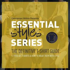 T-shirts are so ubiquitous that they're often overlooked. That's why I wanted to style 5 different types of t-shirts to show just how stylish and versatile they can be.  Introducing Gentleman Within's 3rd edition of ESSENTIAL MEN'S STYLES a series where we breakdown menswear staples.  Check the link in my bio for the in-depth guide where I go over 5 different types of t-shirts ways to wear them how a t-shirt should fit and where to buy them.  Carry on!