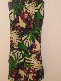 H&M Multi Coloured Tropical Pattern All in One Shorts Playsuit, Size 10
