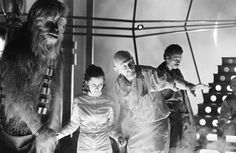 Irvin Kershner directing CarrieFisher and Peter Mayhew on the Bespin freeze chamber set.