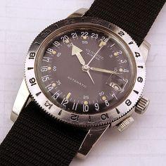 Vintage Glycine Airman 24-hour watch.