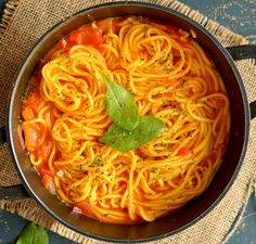 This spaghetti pasta in rich tomato sauce is a great One pot meal ready under 30 minutes   No fuss, Vegan and healthy dinner recipe