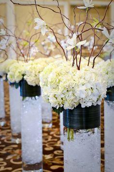 Centerpiece Hydrangea Wedding Flowers   Hydrangeas with Orchids on Willows Centerpieces