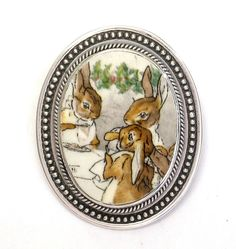 Broken China Jewelry Beatrix Potter Winter Feast Bunnies Sterling Oval Brooch Pin Pendant