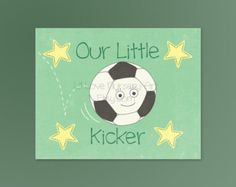 Nursery Art Soccer Little Kicker Sports Nursery Wall Art, Baby Girl Room Decor, Baby Boy Room Decor, Baby Nursery Art, Sports Nursery Art.