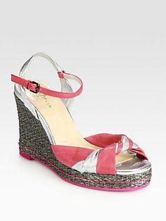 Cole Haan Cascadia Metallic Leather Wedge Sandals
