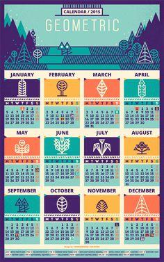 Geometric Nature / Calendar 2015 & PatternAvailable at Creative Calendar, Kids Calendar, Calendar Ideas, Family Calendar, 2015 Calendar, Kalender Design, Calendar Layout, Geometric Nature, Printable Calendar Template