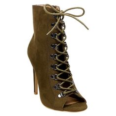 Wild Pair Kraze Lace Up Open Toe Booties - Olive (Green) 9