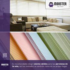 Elige colores cálidos para las persianas de tu sala.#monsterblinds #decoracion #estilo #casa #hogar #persianas #blinds #design #interiordesign #remodela #colores #formas #texturas