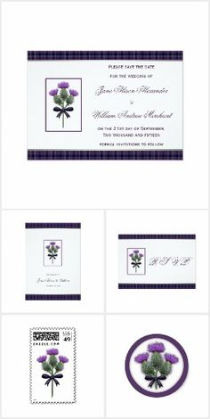 Thistle Collection Wedding Stationery. Scottish inspired Wedding invitations and stationery with a purple tartan plaid and pretty thistle flower illustration. By ArtformTheHeart of www.cmdesignstyle.com