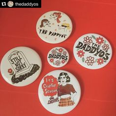 #Repost @thedaddyos  omg!!!! we are in LOVE with our new buttons from @theumbrellabutton !!! we will have these bbs with us on tour! also thanks to @rikohelmet for doing some of the designs! #daddyosband  by rikohelmet