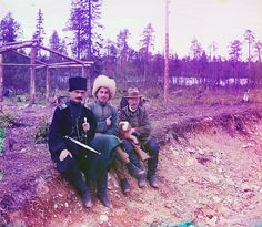 Photographer posing with two others; 1915 Sergei Mikhailovich Prokudin-Gorskii Collection (Library of Congress). #