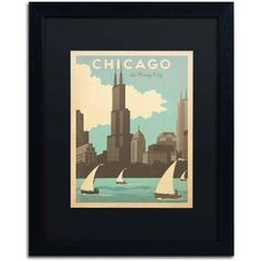 Trademark Fine Art Chic Windy City by Anderson Design Group, Black Matte, Black Frame, Archival Paper, Size: 11 x 14