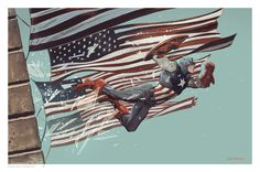 The first amazing piece comes from Mitch Breitweiser, which he posted on his Tumblr. He will be be at the Dallas Comic Con this weekend and will be selling prints of this Captain America image. Bettie Breitweiser did the gorgeous colors.