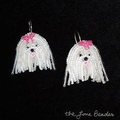 MALTESE sterling silver dangly beaded dog by thelonebeader on Etsy, $95.00