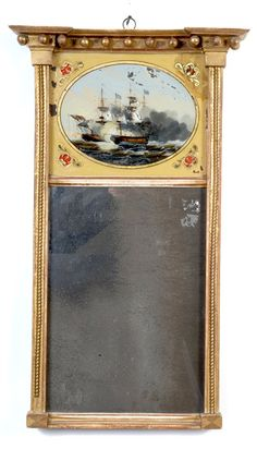 Labeled Federal Mirror, Charlestown, Mass - Accessories 010130 : Gary Sullivan Antiques - Antique Clock Dealer - Antique Furniture Expert