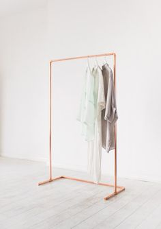 Minimal Copper Pipe Clothing Rail / Garment Rack / Clothes