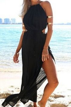 Solid Color Spaghetti Straps Slit Maxi Dress