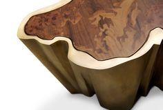 SEQUOIA | Contemporary Center Table by BRABBU  Table top in walnut root veneer and elm root veneer with matte finish, brushed brass;  http://brabbu.com/casegoods/sequoia-center-table.php