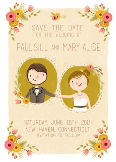 illustrated save the dates that will make you smile | via http://emmalinebride.com/invites/illustrated-save-the-dates/