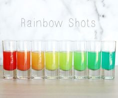 This is one of the best party tricks I've ever seen. There's nothing like a good magic show and Rainbow Shots definitely deliver - when you pour seven different colored shots out of the same shaker right in front of your guests eyes?!! A perfect presto.How it works: The different densities of the four liquids used to make these, allow the separate liquids (i.e.: colors) to stack up in the shaker. As the shots are poured out, slight blending occurs between the layers creating the trans...