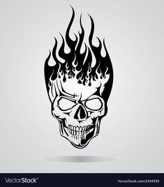 Burning Skull Tribal vector image on VectorStock Skull Tattoo Design, Skull Tattoos, Tribal Tattoos, Art Tattoos, Skull Design, Tribal Drawings, Tattoo Drawings, Skull Drawings, Skull Stencil