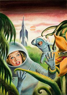 The Galactic Breed , cover art for the novel by Leigh Brackett. Unknown artist, Preliminary science fiction by Ed Emshwiller, n. Science Fiction Art, Pulp Fiction, Fiction Movies, Ufo, Aliens, Sci Fi Movies, Pulp Art, Sci Fi Fantasy, Space Fantasy