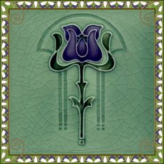 Purple and green art nouveau tile - love this.