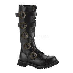 Demonia ATTACK-10 10 Eyelette Blk Leather S/T Calf Boot w/4 Buckles