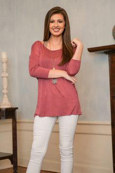 """""""Gentle Twist Top, Mauve"""" 