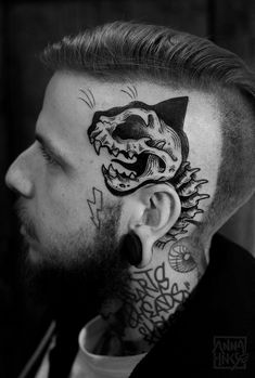black and grey mandala neck tattoos - Google Search