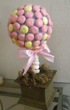 "Super fun Smarties Pop Candy Tree Topiary by ""Catch My Party!""  #DIY #Craft"