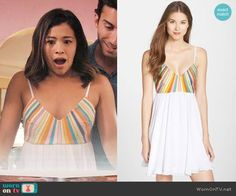 Jane's white dress with multi-colored stripes on Jane the Virgin. Outfit Details: https://wornontv.net/84542/ #JanetheVirgin