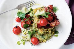 Corn & Coriander Fritters - Delicious. I added a poached egg for a yummy brunch