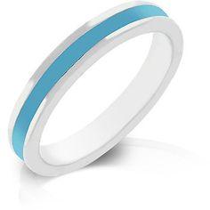 Genuine Rhodium Plated Aqua Enamel Eternity Ring Polished into a Lustrous Silvertone Finish
