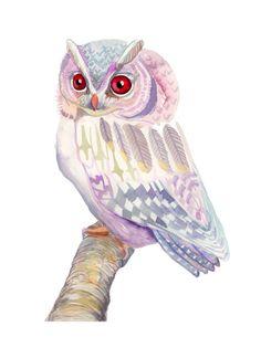 Pink and Purple Owl art print - archival fine art. $15.00, via Etsy.
