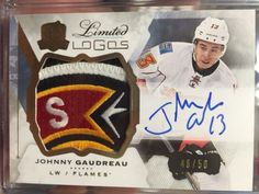 2015-16 The Cup - Johnny Gaudreau - Limited Logos Auto Game Used Patch /50 WOW!