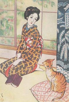 "Résultat de recherche d'images pour ""Bijin with a kitten - postcard - Osaka, Japan - 1907"""