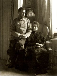 Nicholas and Alexandra early in their marriage. They called one another Nicky and Alicky, Sunny and Lovey-dear, hubby and wifey: they were the last Emperor and Empress of Russia (a title they preferred to Tsar and Tsarina)