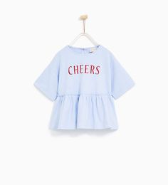 FRILLED 'CHEERS' T-SHIRT-NEW IN-GIRL | 4-14 years-KIDS | ZARA United States