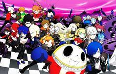 chibi everyone official_art persona persona_q Persona 4 Manga, Persona Q, Yosuke Hanamura, Yu Narukami, Shin Megami Tensei Persona, Summer Vacation Outfits, New Cinema, Ski Girl, Christmas Costumes