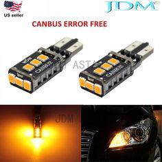 JDM ASTAR T10 Amber CANBUS Error Free PX SMD LED License Map Light Bulbs 194 168 #JDMASTARaftermarketcanbuserrorfree194168