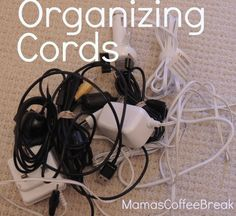 Tips to treasure Cord Organization, Organizing, Coffee Break, Cords, Tips, Ropes, Cable, Coffee Time, Counseling