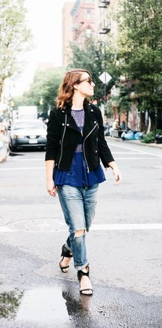 Blogger Alicia Lund of Cheetah is the New Black wearing the Corey Slouchy Slim Jean in Arsenal from Premium Vintage.