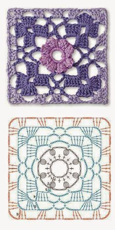 Crochet motives. Driving square motif вязание мотивами крючком