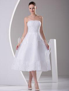 [75,90€] A elegante Strapless linha Satin Mini Wedding Dress