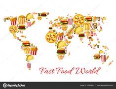 Download - Fast food world map cartoon poster design — Stock Illustration