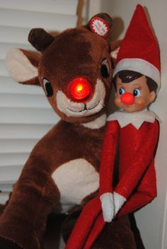 Elf On The Shelf -- Red nosed elf! (Click on picture to see more great Elf On The Shelf ideas!)
